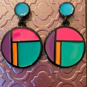 Vintage double circle color block earrings